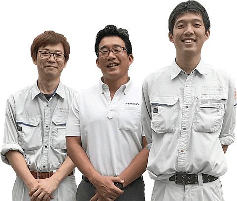 宍戸邦啓取締役社長(中央) 技術課 大場圭一郎さん(左) 技術課 松本康裕さん(右)