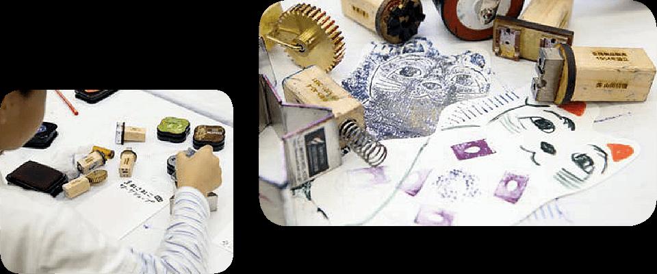 『ものつくるひと』掲載の事業者などから提供された金属、プラスチック、木材などの端材や廃材を活用して作られたスタンプ。形のおもしろさや配色を考え、思い思いにまねきねこを飾り付ける